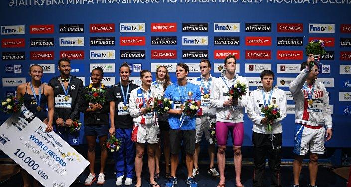 I vincitori della Coppa del Mondo di nuoto a Mosca