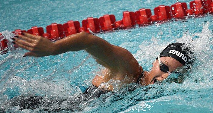 Federica Pellegrini nuota nella finale dei 200 metri stile libero ai campionati mondiali di Budapest