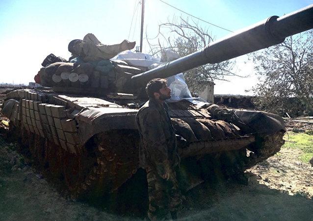 Tank siriano nella provincia di Daraa