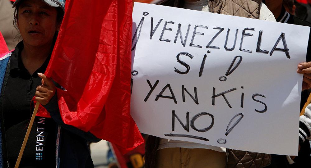 Una manifestazione per appoggiare il presidente di Venezuela Nicolas Maduro in Messico.