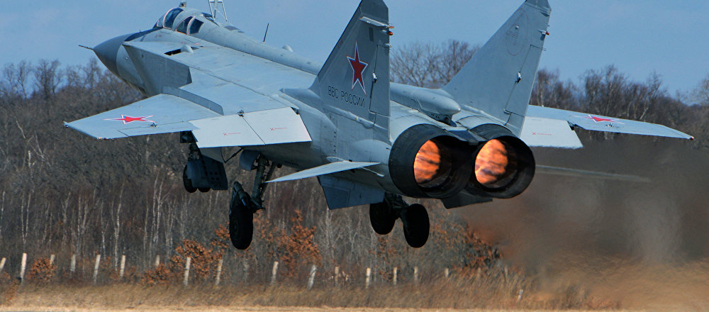 The Mikoyan MIG-31, a supersonic all-weather long-range interceptor jet