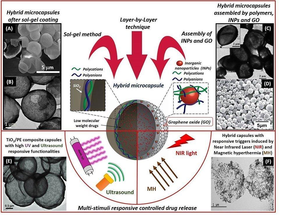 Schema del funzionamento delle microcapsule ibride del Politecnico di Tomsk