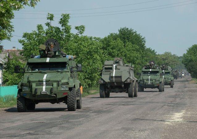 Convoglio militare ucraino a Marinka, Donbass