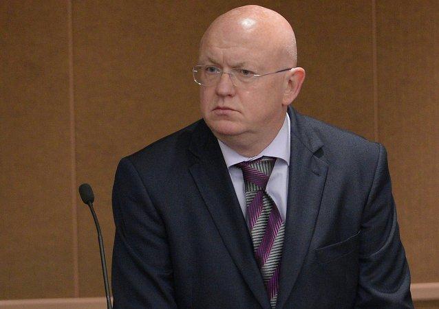 Il rappresentante permanente russo presso l'ONU Vasily Nebenzya