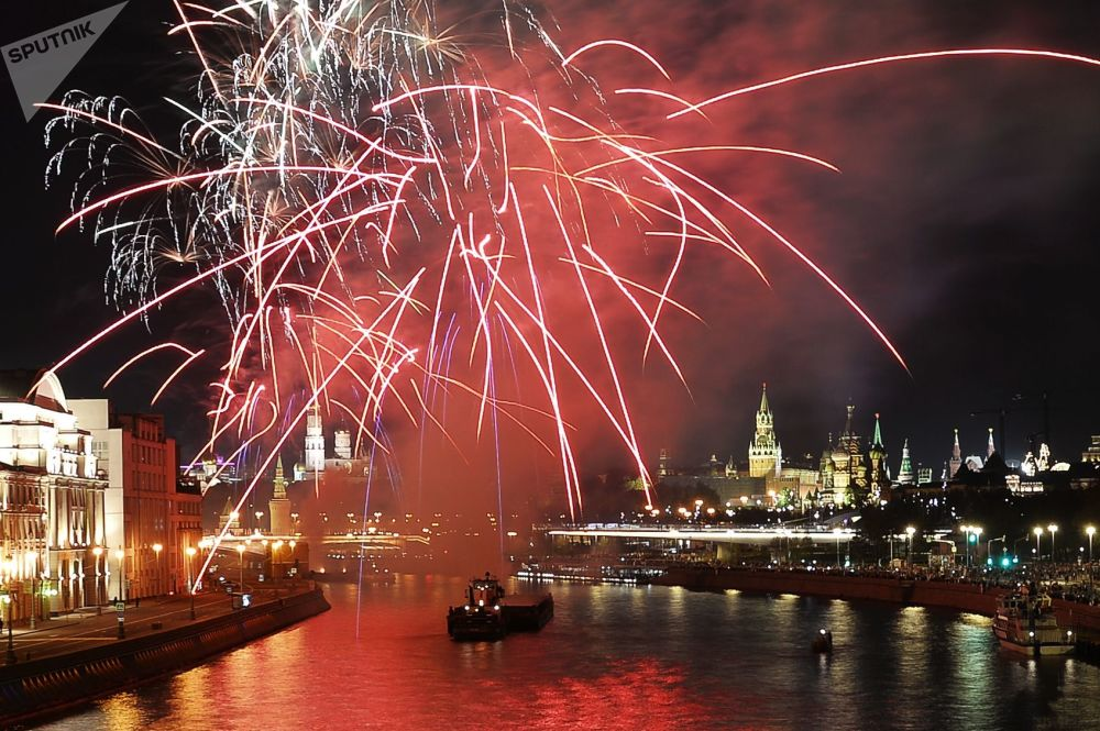 I Fuochi d'artificio in onore del Giorno di Mosca.