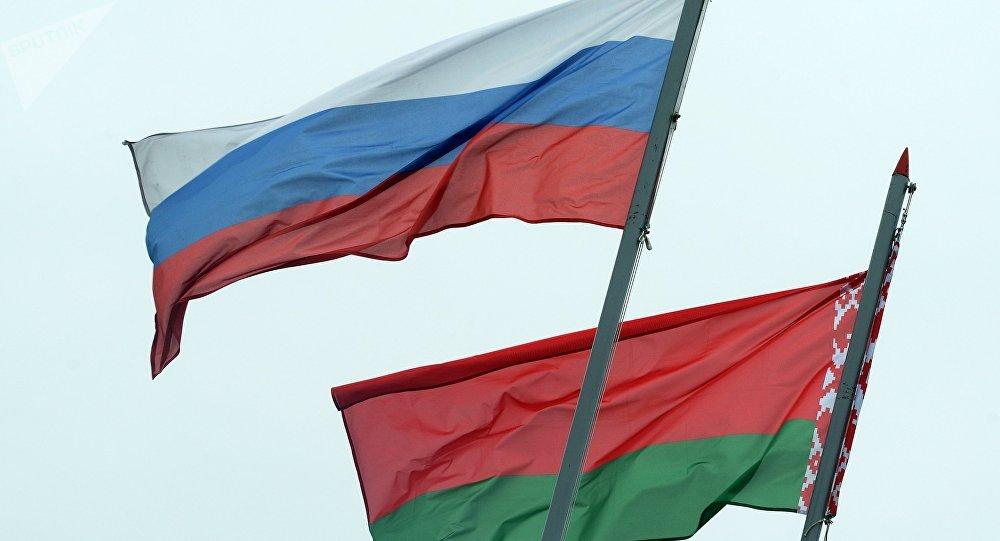 Bandiere di Russia e Bielorussia