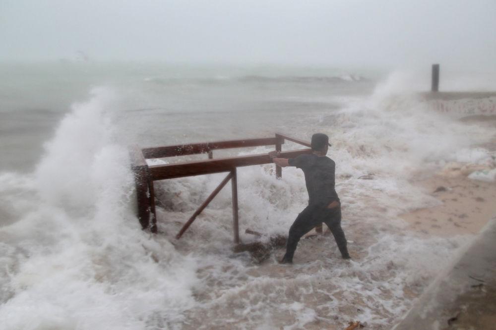 Durante l'uragano Maria a Punta Cana, Repubblica Dominicana.