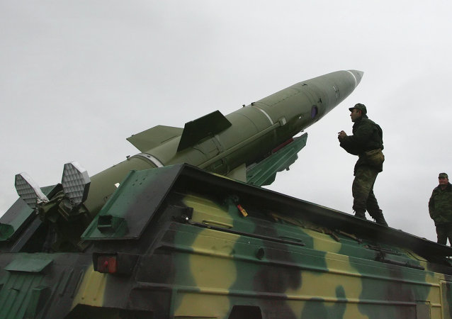 Tochka short-range tactical ballistic missile launched from test area in the Kaliningrad Region