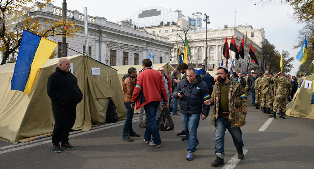 A tent camp set up near the Ukrainian parliament building in Kiev, Ukraine October 19, 2017