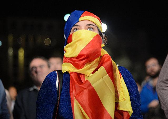 Manifestante indipendentista catalana (foto d'archivio)