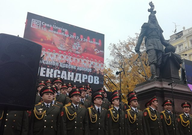 Cerimonia di apertura a Belgrado del parco al Coro Alexandrov