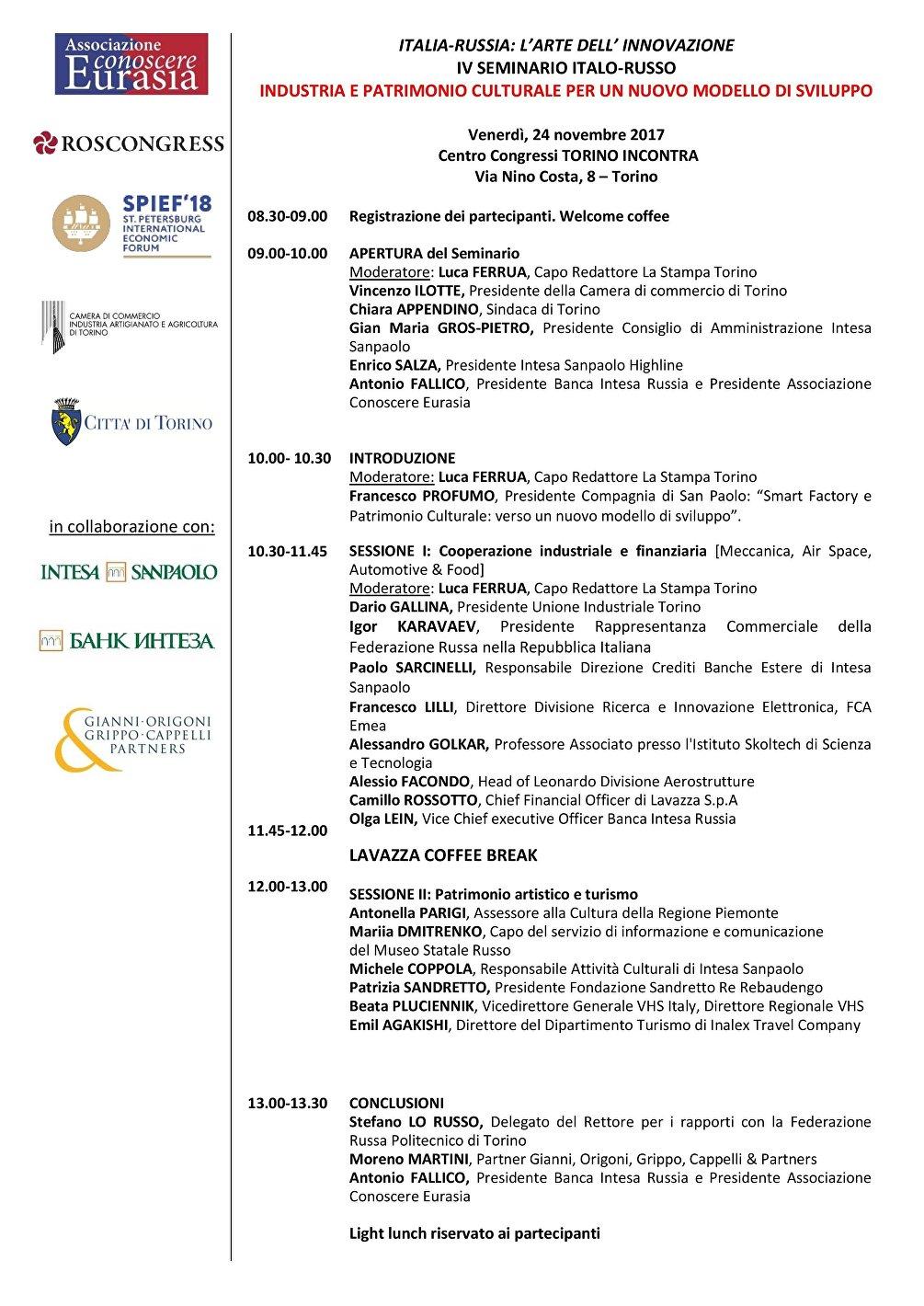 Il programma del seminario Italia-Russia, l'arte dell'innovazione
