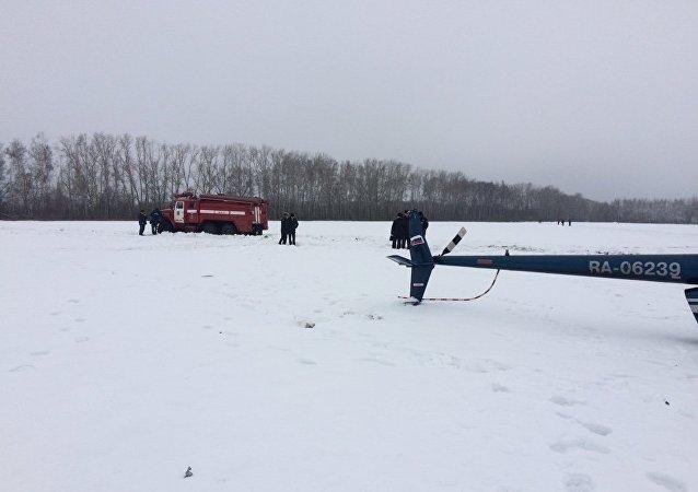 Sul luogo dello schianto dell'elicottero nella regione di Tambov