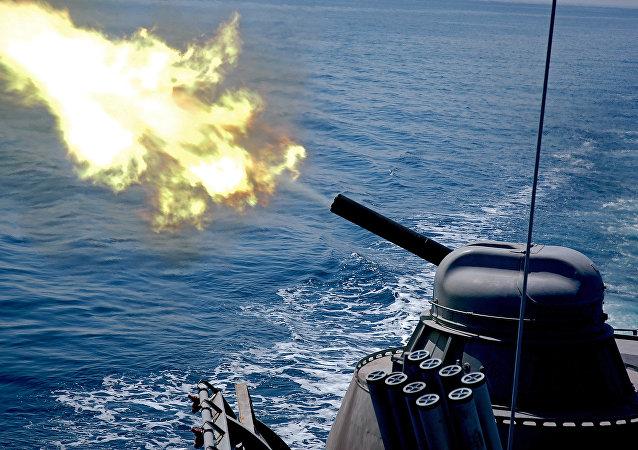Un missile lanciato da una nave della Flotta Russa del Pacifico
