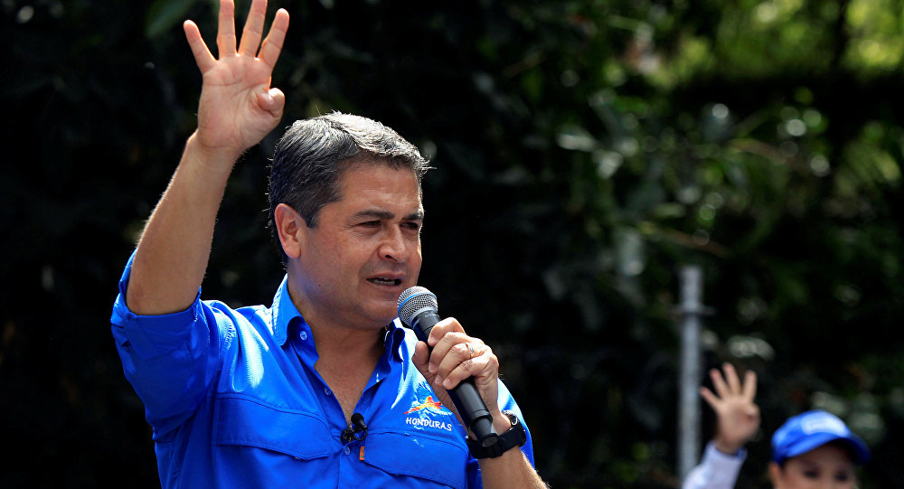 Honduras President and National Party candidate Juan Orlando Hernandez addresses the audience during his closing campaign rally ahead of the upcoming presidential election, in Tegucigalpa, Honduras November 19, 2017