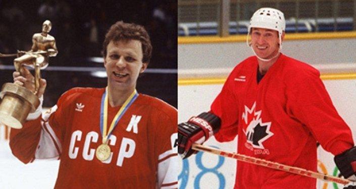 Due leggende dell'hockey, Vyatcheslav Fetisov (USSR) e Wayne Gretzki