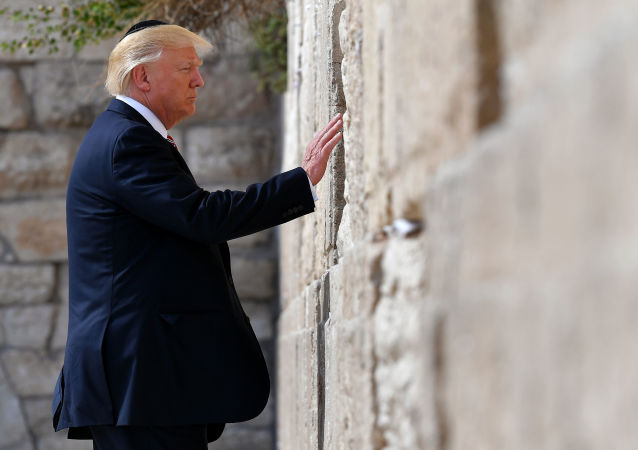 US President Donald Trump visits the Western Wall, the holiest site where Jews can pray, in Jerusalem's Old City on May 22, 2017.