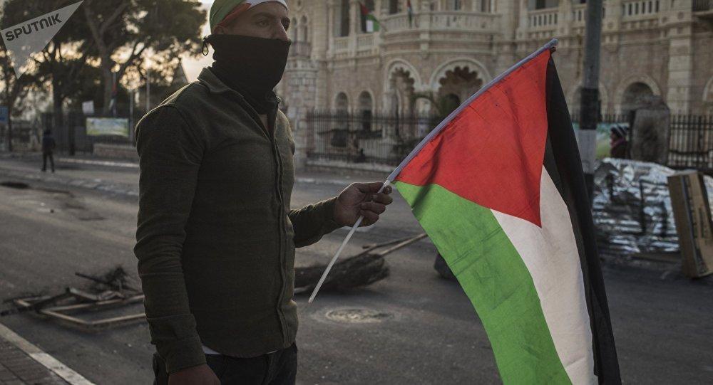 Dimostrante palestinese al confine con Israele (foto d'archivio)