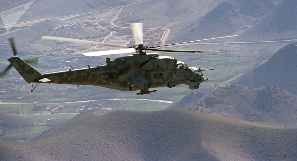 A Mi-24 helicopter on a mission in the vicinity of the Kabul-Herat road