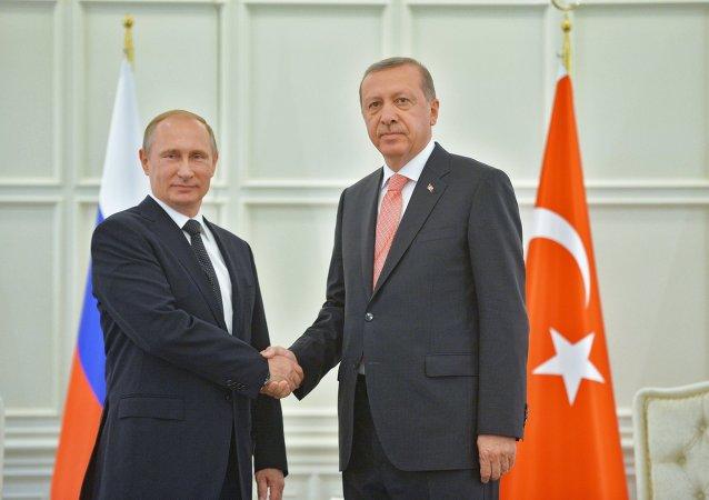 Presidente russo Vladimir Putin e presidente turco Recep Tayyip Erdogan