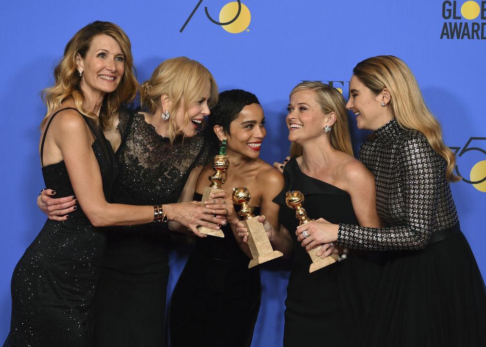 Laura Dern, Nicole Kidman, Zoe Kravitz, Reese Witherspoon and Shailene Woodley alla cerimonia di Golden Globe.