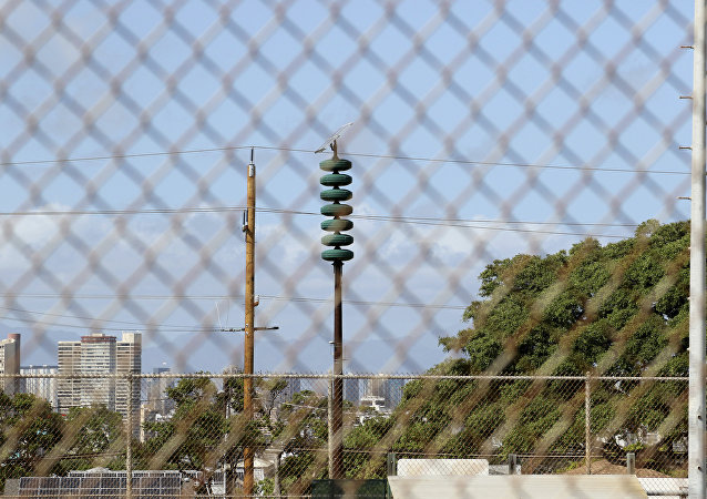 A Hawaii Civil Defense Warning Device, which sounds an alert siren during natural disasters, is shown in Honolulu on Wednesday, Nov. 29, 2017