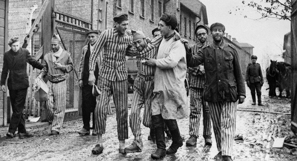 Second World War of 1939-1945. Soviet troops liberate the prisoners of the Nazi concentration camp Auschwitz-Birkenau (Poland)