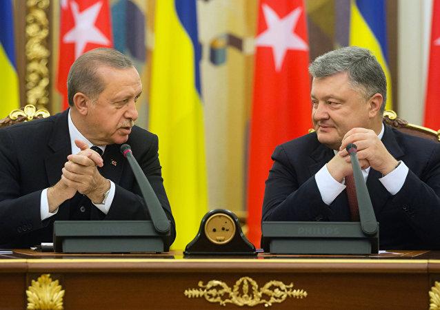 President of Turkey Recep Tayyip Erdogan (left) and President of Ukraine Petro Poroshenko during their meeting in Kiev