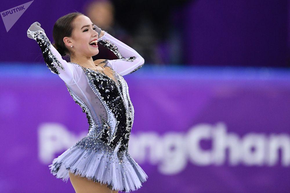 La figurista russa Alina Zagitova a Pyongchang 2018.