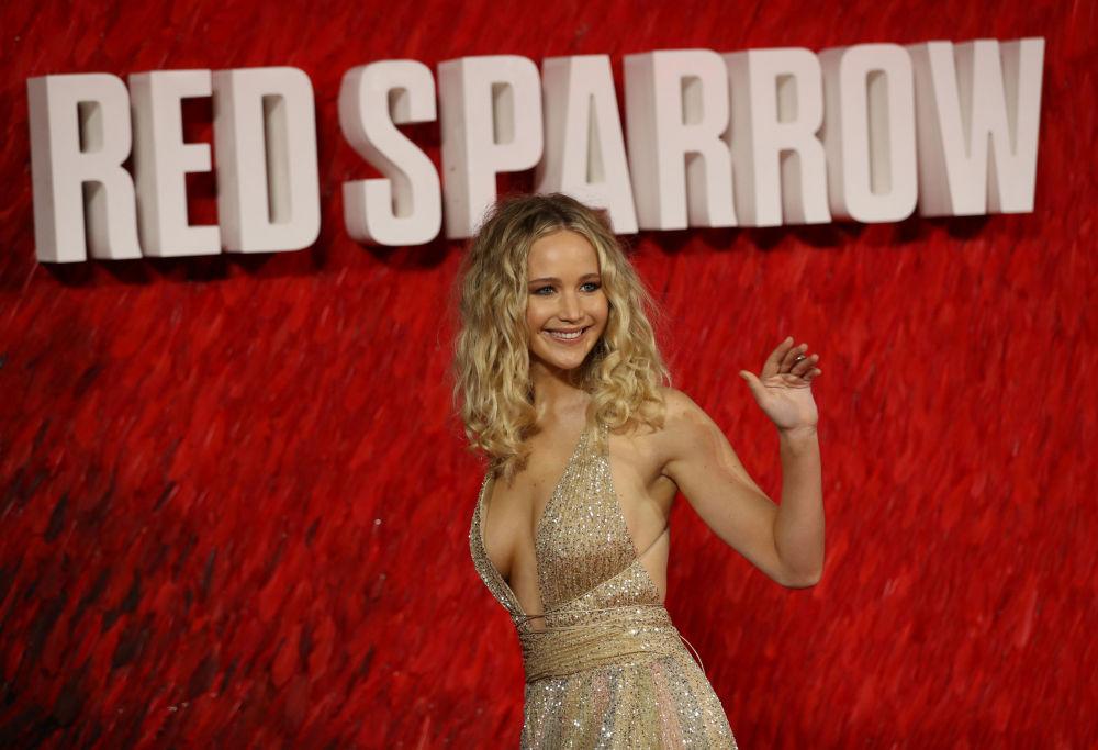 L'attrice Jennifer Lawrence arriva alla prima europea del Red Sparrow a Londra, Gran Bretagna.