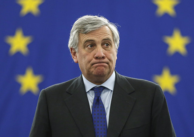 Antonio Tajani acknowledges applauses after being elected European Parliament President at the European Parliament in Strasbourg, in Strasbourg, eastern France, Tuesday, Jan. 17, 2017