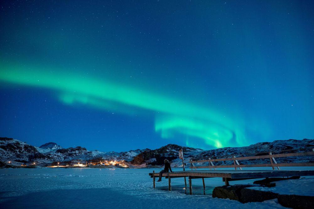 L'aurora boreale alle Isole Lofoten in Norvegia.