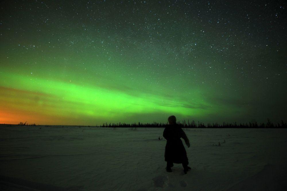 L'aurora polare, Nadym, Russia.