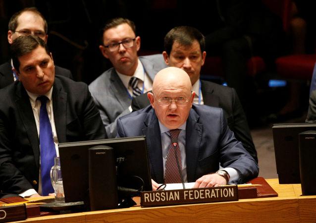 Il rappresentante permamente della Russia nell'ONU Vasily Nebenzya a una seduta del Consiglio di Sicurezza.