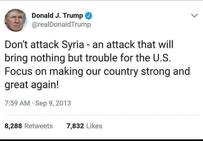 Un twit di Trump sulla Siria