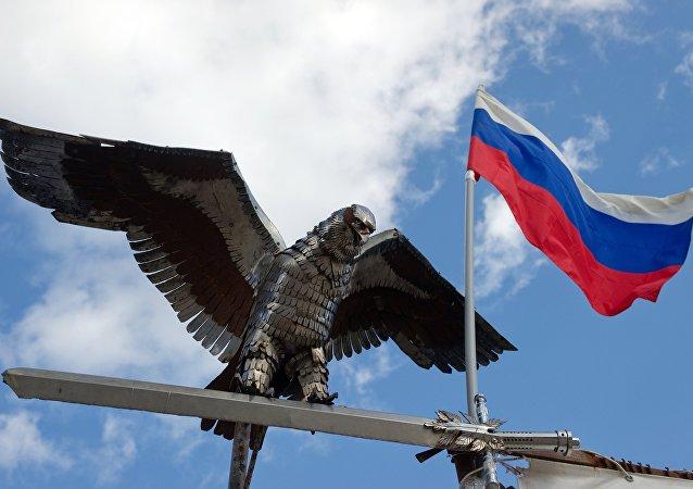 Paracadutisti con la bandiera russa