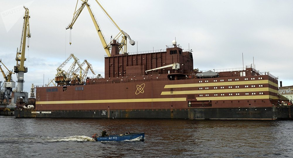 The Akademik Lomonosov floating nuclear power plant is towed from the Baltic Shipyard in St. Petersburg