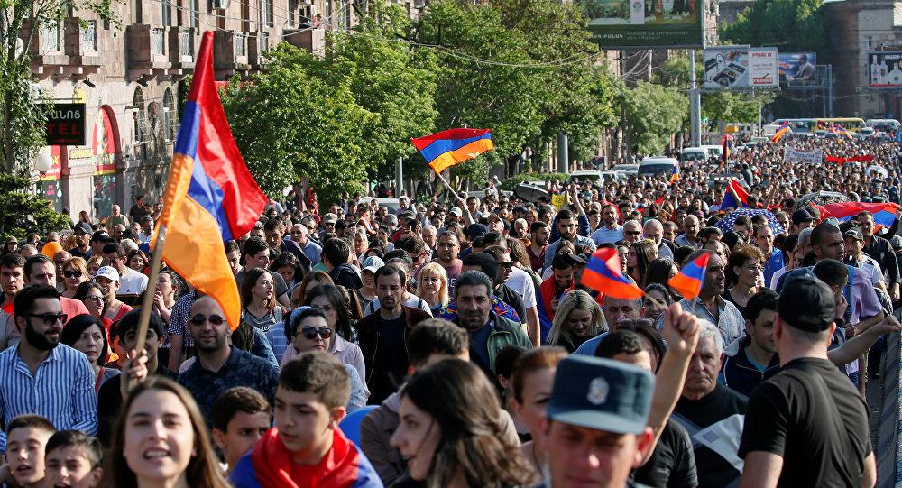 Le manifestazioni a Erevan, Armenia