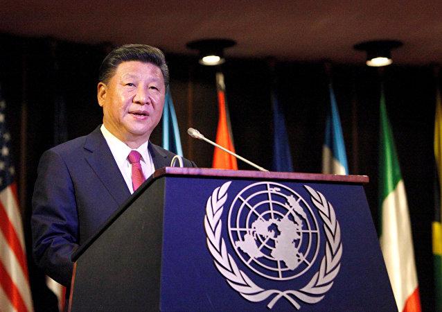 Il presidente cinsese Xi Jinping parla alla Comissione Economica per l'America Latina e i Caraibi (CEPAL) a Santiago, Cile (foto d'arhivio)