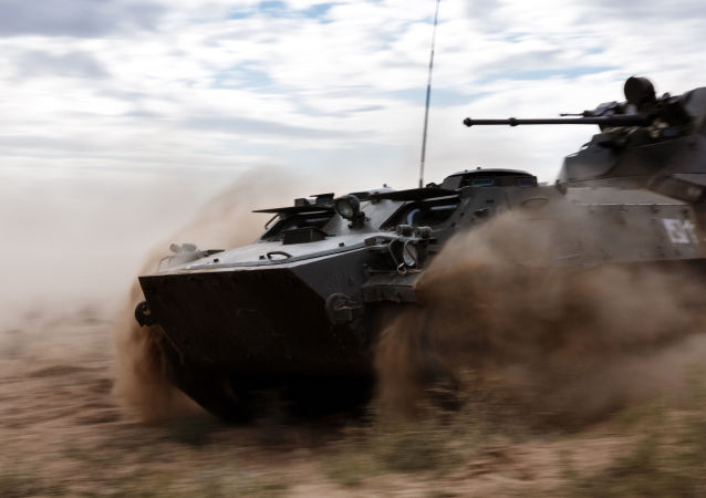 An MT-LB amphibious armoured tracked vehicle during the Center-2015 strategic command drill in Astrakhan Region