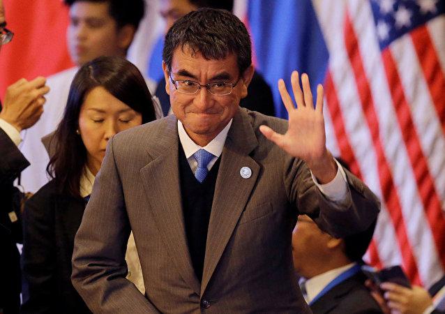 Il ministro degli esteri nipponico Taro Kono.