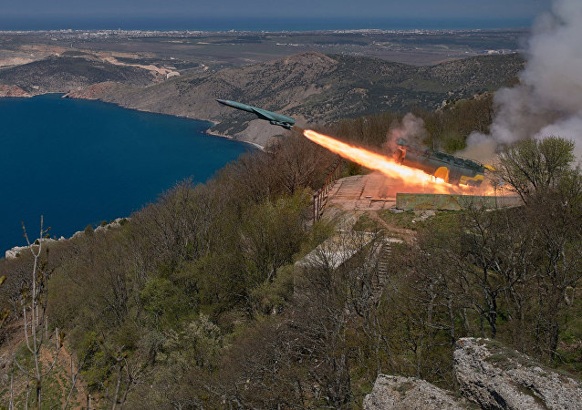 The Utyos stationary coastal missile system launches a cruise missile during a Black Sea Fleet tactical drill in Crimea