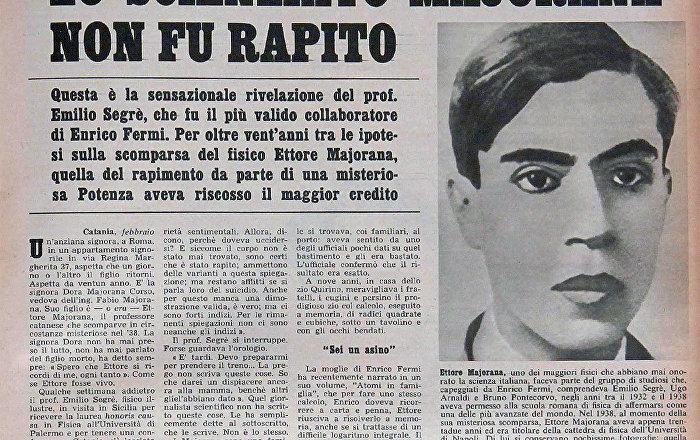 ettore majorana  Ettore Majorana, il genio di via Panisperna - Sputnik Italia