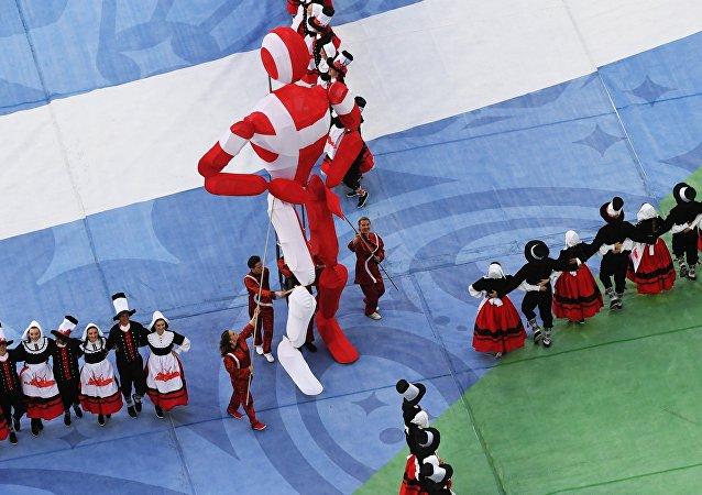 Esibizione della Danimarca alla cerimonia di chiusura della Confederations Cup 2017