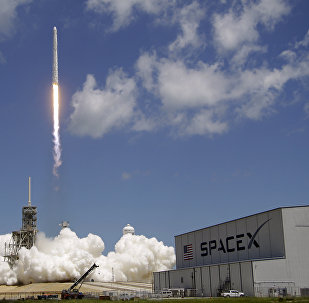 A Falcon 9 SpaceX rocket launches from pad 39A at the Kennedy Space Center in Cape Canaveral, Fla., Monday, Aug. 14, 2017.