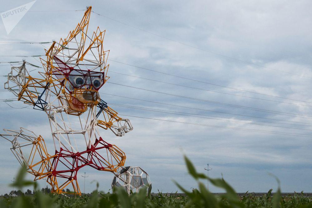 La mascotte dei Mondiali 2018 il lupo Zabivaca nella regione di Kaliningrad.