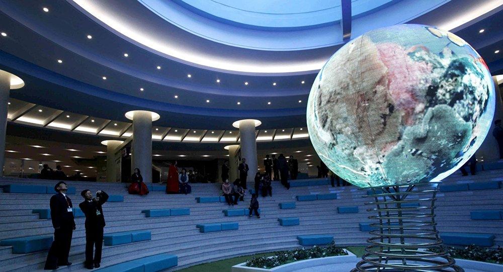 All'interno dello complesso di scienza e tecnica a Pyongyang.