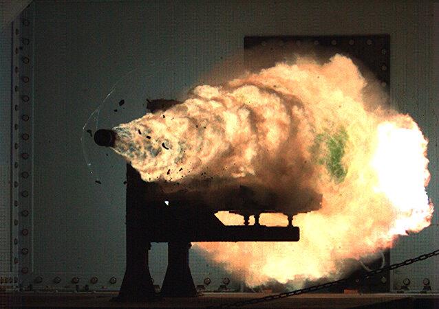 Record-setting firing of an electromagnetic railgun (EMRG). (File)