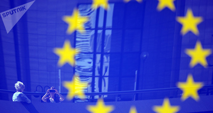 Tourists reflected in a EU logo
