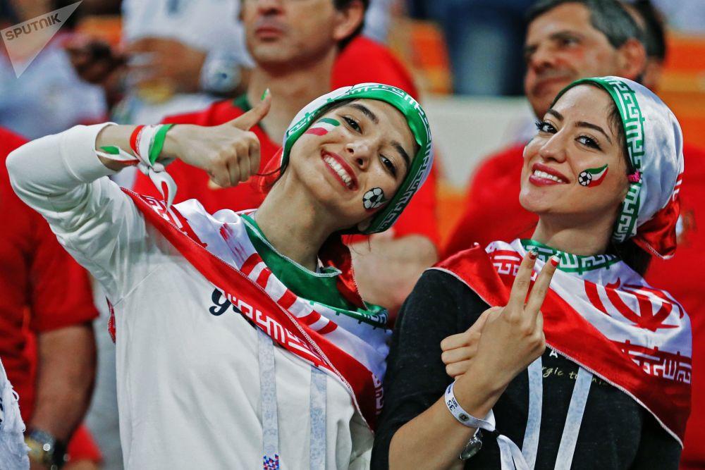 Le fan iraniane alla partita tra Iran e Portogallo nella città di Saransk.